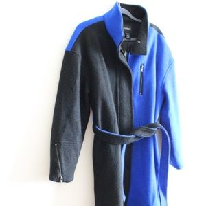 Ashro Trench Coat Black and Blue